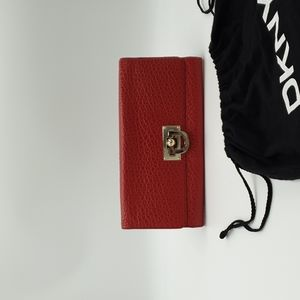 DKNY Red Pebbled Leather Silver Tone Turnlock Clutch Purse